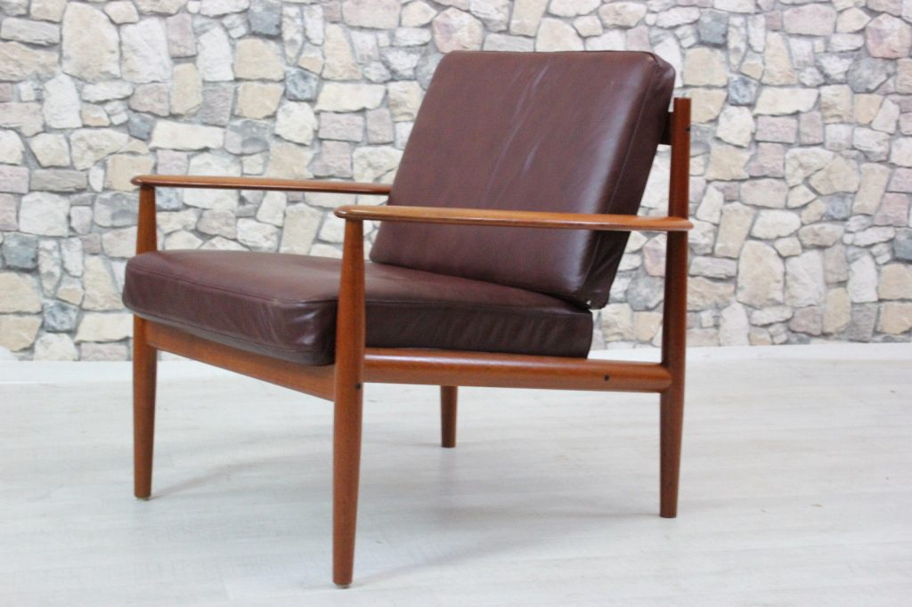 60er teak grete jalk france s n sessel leder sessel danish 60s easy chair gr nberger shop. Black Bedroom Furniture Sets. Home Design Ideas
