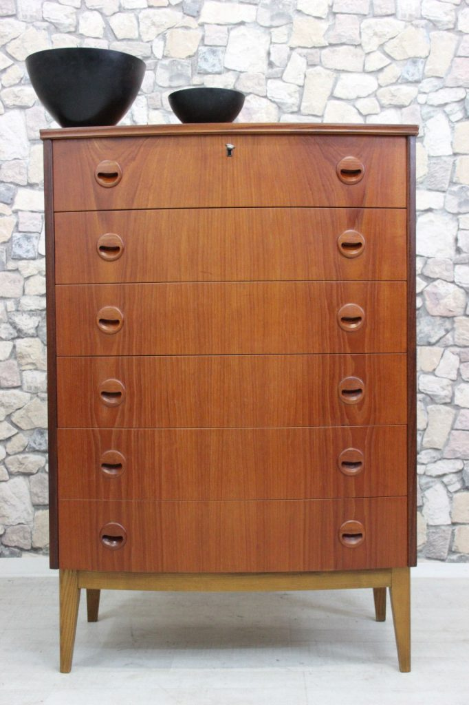 60er TEAK KOMMODE HIGHBOARD DANISH DESIGN 60s CHEST TEAK DANISH