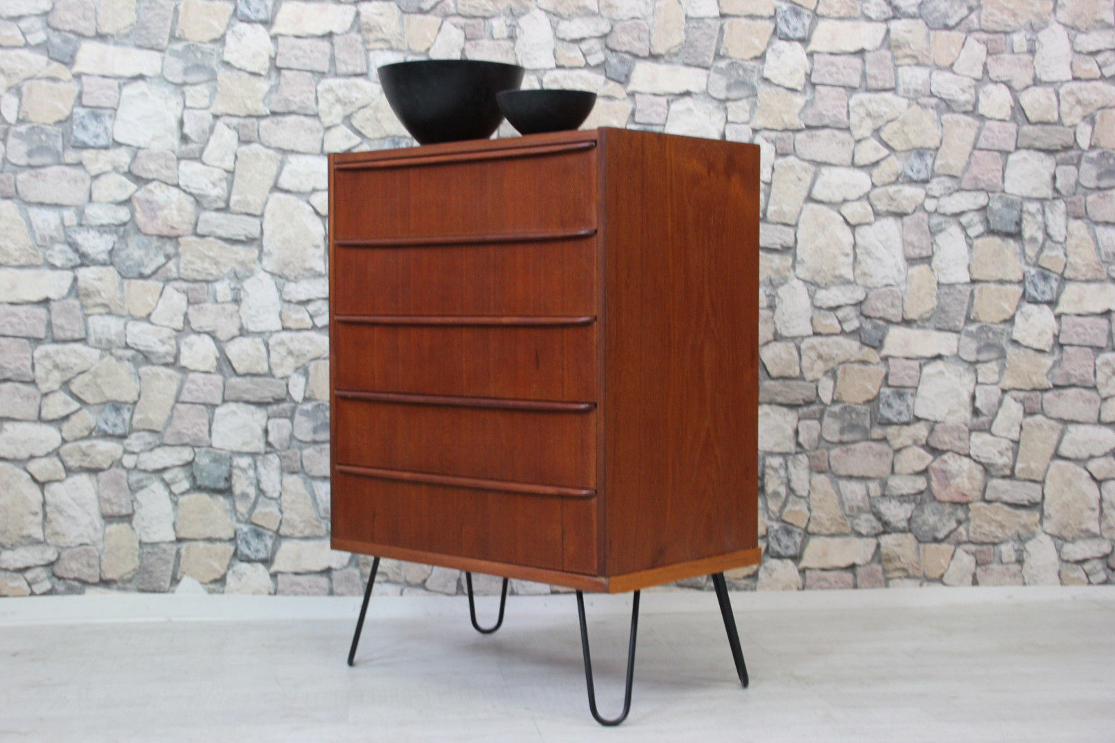 60er Teak Kommode Highboard Danish Design 60s Teak Chest