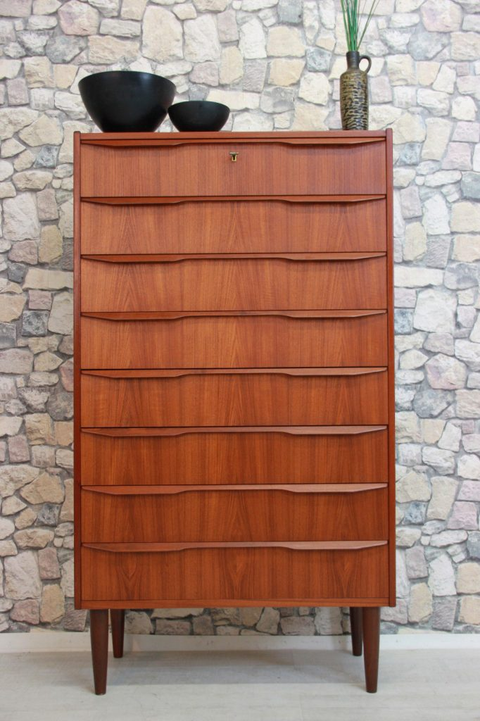 GROßE 60er TEAK KOMMODE HIGHBOARD DANISH DESIGN 60s CHEST TEAK DANISH